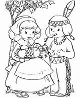 Coloring Pages Pilgrim Indian Printable sketch template