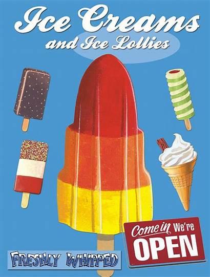 Ice Cream Lolly Retro Sign Advertising Wall