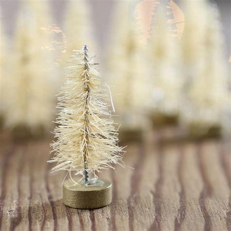 miniature antique white bottle brush trees christmas