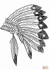 Feather Coloring Native Indian Drawing Headress Headdress Indians Americans Printable Choctaw Mandala Vector Drawings Feathers Supercoloring Eagle Clipart Dreamcatcher Trace sketch template