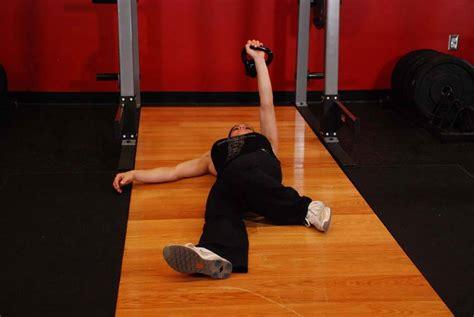 floor press arm kettlebell exercises extended exercise range