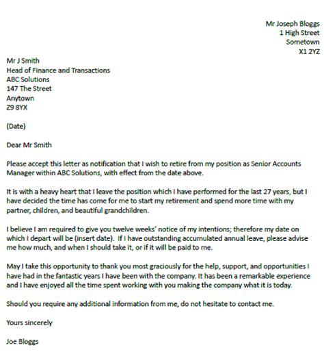 retirement resignation letter  resignletterorg