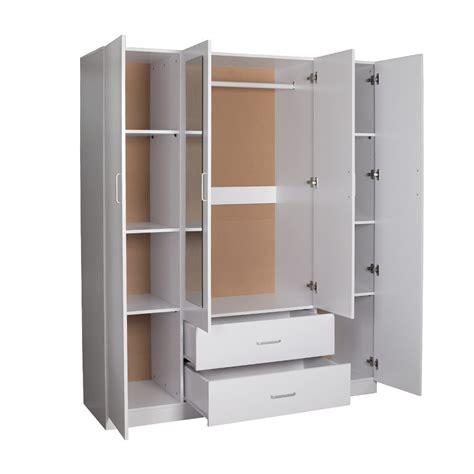 White Wardrobe Cupboard by Priceworth Redfern 4 Doors 2 Drawers Big Size Wardrobe