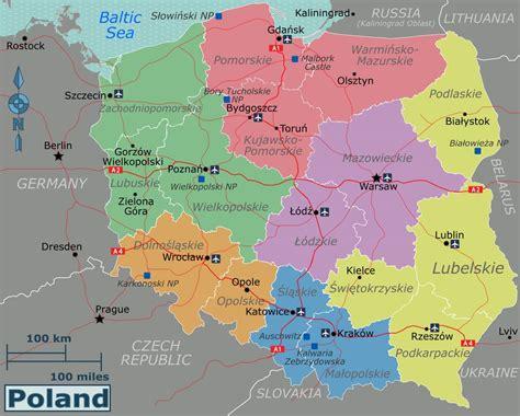 large regions map  poland poland europe mapsland