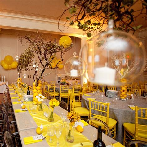 yellow and gray reception decor
