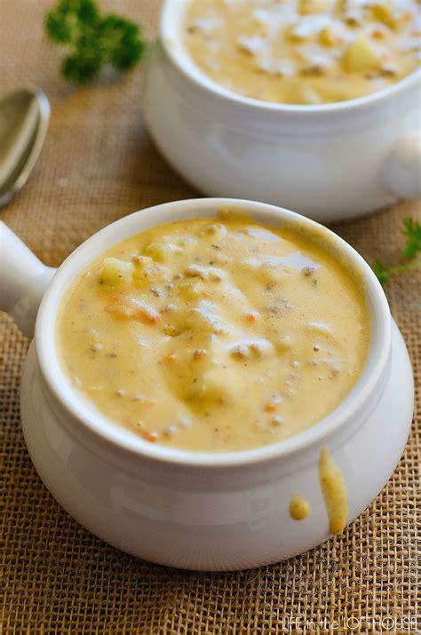 crockpot soup crock pot cheeseburger soup