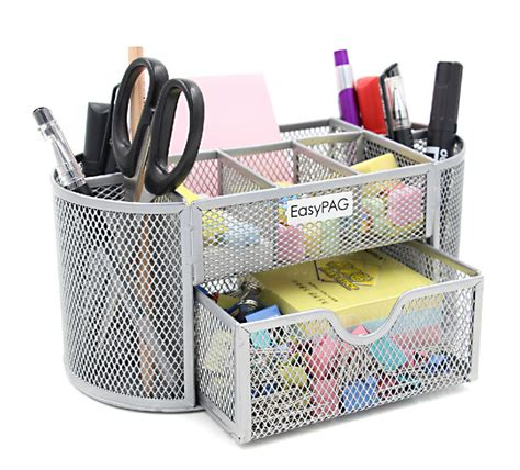 Black Mesh Collection Office Desk Supplies Organizer Caddy