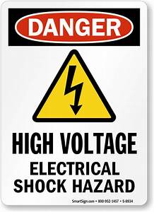High Voltage Electrical Shock Hazard (with Symbol) Sign ...