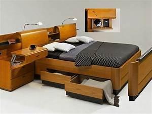 Lit Double Avec Rangement : t te de lit avec rangement fonctionnelle et pratique ~ Teatrodelosmanantiales.com Idées de Décoration