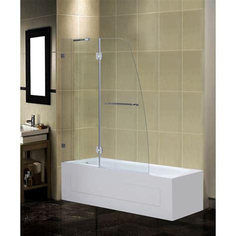 frameless shower doors tub 48 quot x 58 quot pivot frameless tub height shower door wayfair