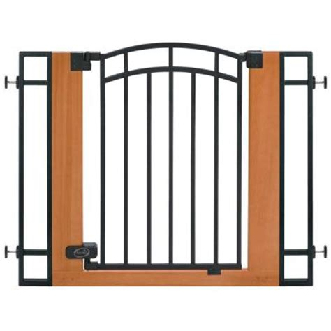 stylish and secure wood and metal walk thru gate 07534z