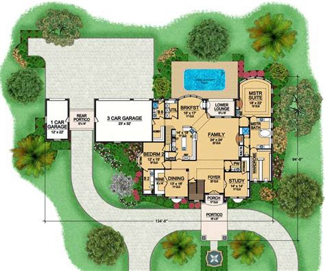house plans with portico home plans with drive through garage