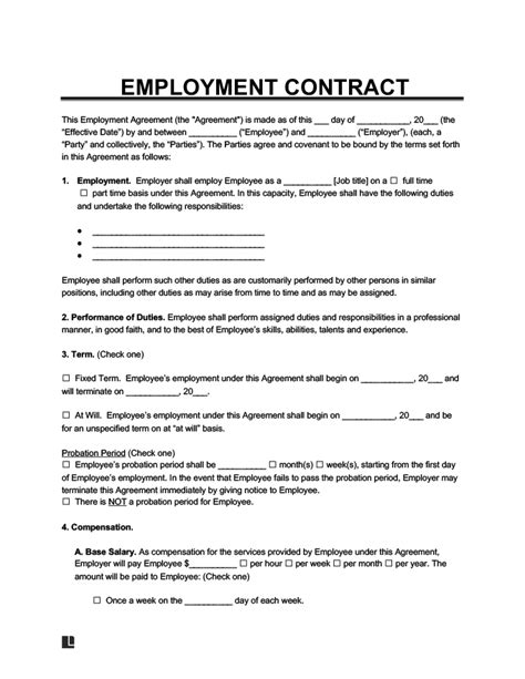 Free Employment Contract | Standard Employee Agreement & Template