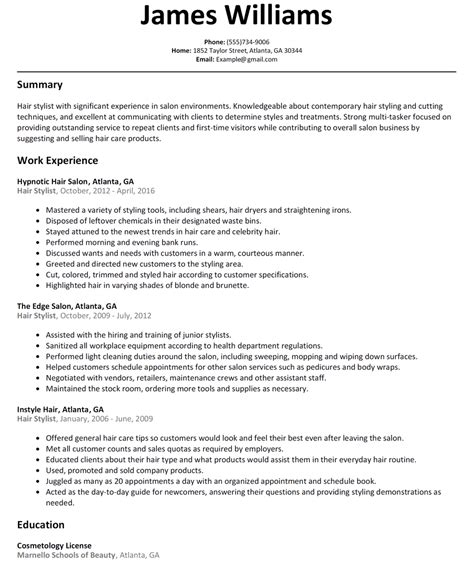 Resume For Hair Salon by Hair Stylist Resume Sle Diplomatic Regatta