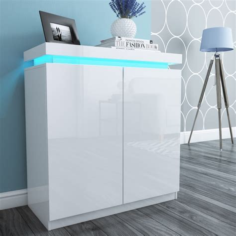 Tiffany White High Gloss Shoe Storage Cabinet with LED
