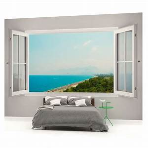 fototapete wandbild fototapeten bild tapete meerblick With balkon teppich mit 3d tapete strand
