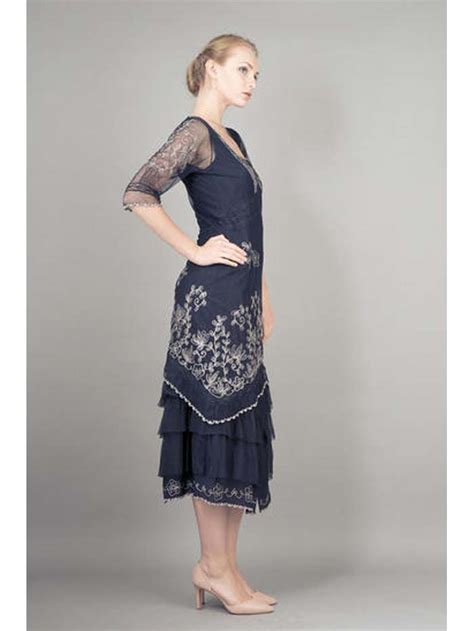navy blue embroidered tulle art nouveau dress nataya