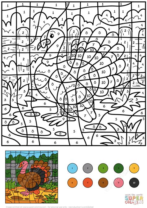 turkey color  number  printable coloring pages
