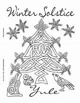 Coloring Yule Wiccan Pagan Solstice Winter Printable Adult Celtic Happy Tree Crafts Witch Wicca Colouring Witchcraft Summer December Holidays Coven sketch template