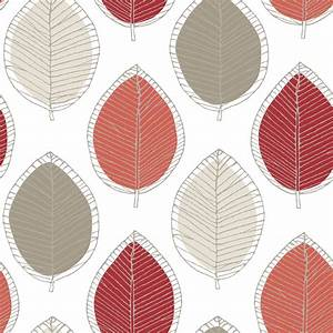 Arthouse Opera Beige, Cream & Red Sketched Leaf Wallpaper ...
