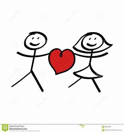 Stick Couple Figure Heart Illustration Female