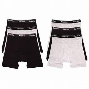 6 Mens Boxer Briefs 100% Cotton Black Gray White Underwear ...