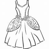 Coloring Gown Ball Princess Gowns Clothes Surfnetkids Colouring Clipart Lovely sketch template