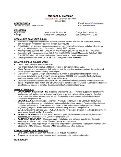 exles of resumes for computer animation
