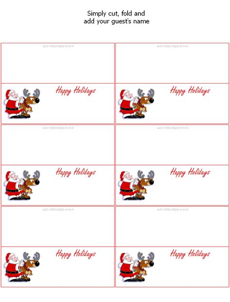 free printable christmas table place cards template 7 best images of printable placecards templates free