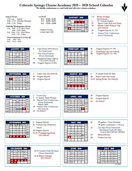 school calendar colorado springs charter academy