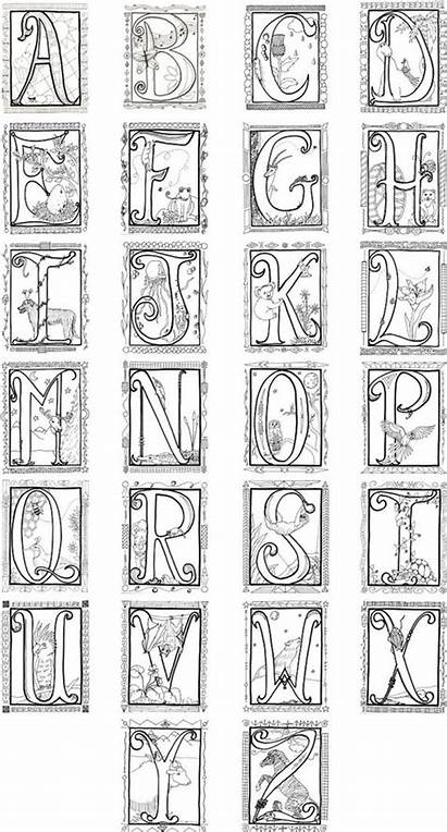 Coloring Illuminated Letters Alphabet Printable Poster Alfabeto