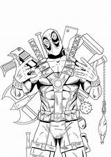 Coloring Deadpool Superhero Marvel Printable Cartoon Spiderman Character Comics Drawing Boys Rocks sketch template