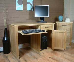 Mobel Oak Single Pedestal Oak Computer Desk Mobel Oak