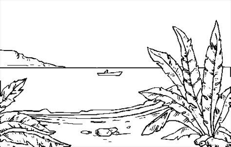 Boot Zu See Ausmalbild & Malvorlage (landschaften