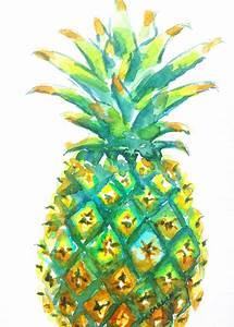 Pineapple Watercolor Original Painting 5x7 Colorful