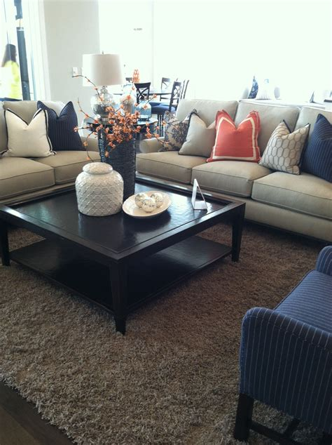 Navy Blue Room Decor - orange and navy blue accent for family room looks so