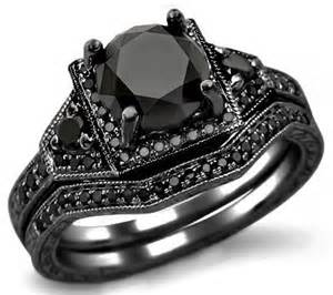 black wedding ring sets black engagement wedding ring sets onweddingideas