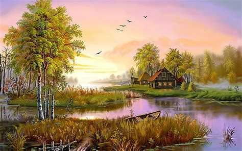 Nature Painting Wallpaper by Houses On The Lake Hd Wallpaper Background Image