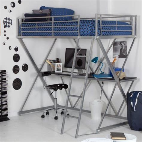 duro z bunk bed loft with desk silver kids teen