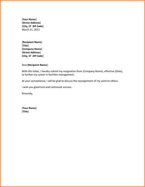 resignation letter sle template for resignation letter sle 28 images template
