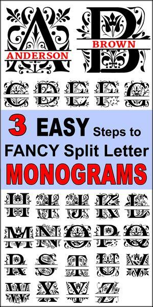 fancy split font monograms  monogram fonts  fonts  cricut monogram stencil