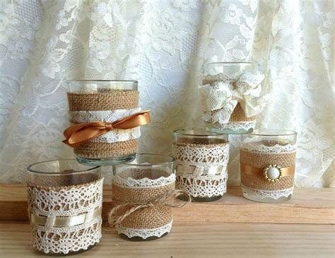 country style bridal shower ideas burlap and lace covered votive tea candles country chic wedding decoration bridal shower decor
