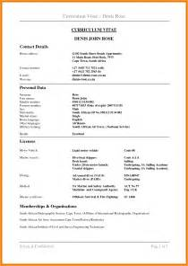 cv format template south africa cv format south africa letter format mail