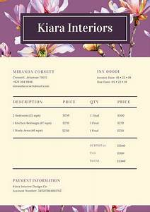 Sample Of An Invoice For Services Violet And Beige Floral Interior Design Service Invoice