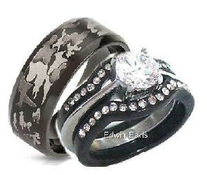 his and hers wedding rings 4 cz black stainless steel black camouflage ebay