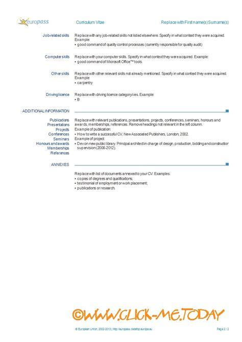 europass cv template  europass cv form word