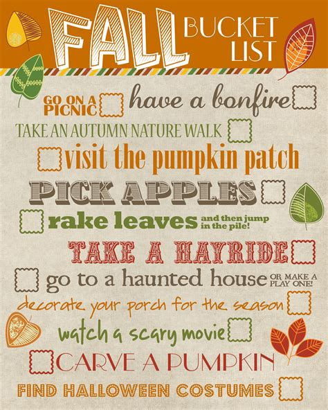 bucket list thursday s with tracie fall list ideas
