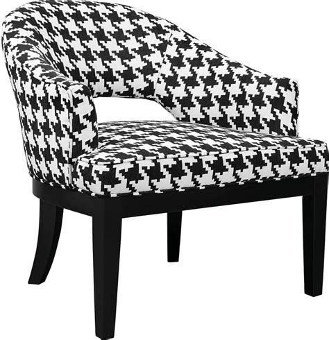 Macy Houndstooth Linenlook Fabric Accent Chair Black