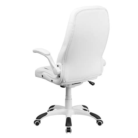 high back white leather executive flip up arm office chair