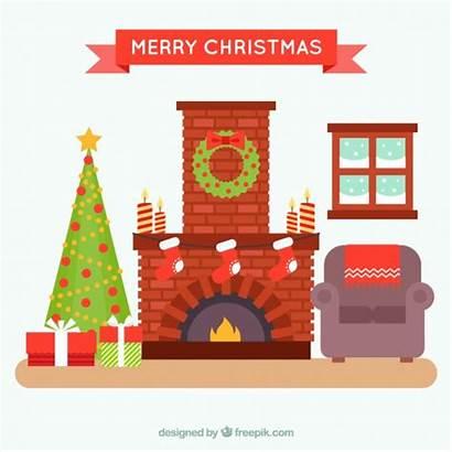 Christmas Fireplace Cozy Living Vector Freepik